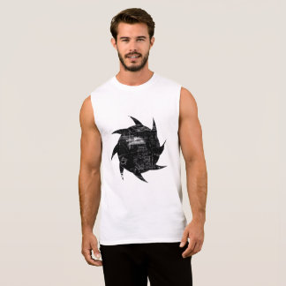 Black and White Grunge Cotton Sleeveless T-Shirt