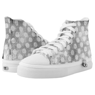 Black and white grunge dotted canvas sneakers
