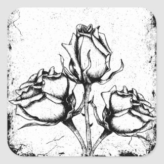 Black and White Grunge Roses Square Sticker