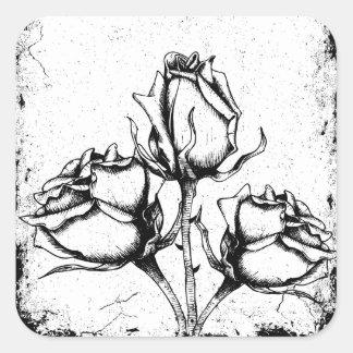Black and White Grunge Roses Square Sticker
