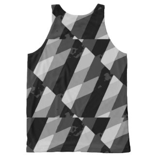 Black and White Grunge Striped Pattern All-Over Print Singlet