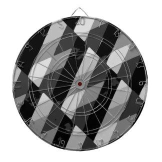 Black and White Grunge Striped Pattern Dartboard