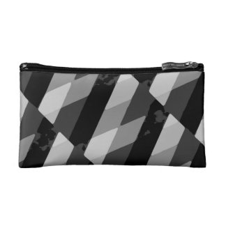 Black and White Grunge Striped Pattern Makeup Bag