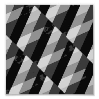 Black and White Grunge Striped Pattern Photo Print