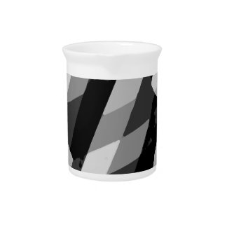 Black and White Grunge Striped Pattern Pitcher