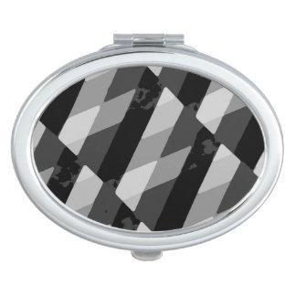 Black and White Grunge Striped Pattern Travel Mirror