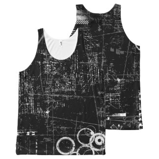 Black and White Grunge Unisex Tank