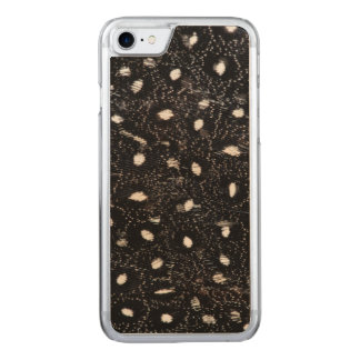 black and white guinea fowl feather carved iPhone 7 case