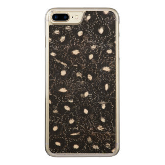black and white guinea fowl feather carved iPhone 7 plus case