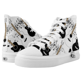 Black and White Guitars and Music Printed Shoes