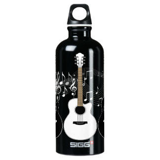 Black and White Guitars Pop Art Water Bottle