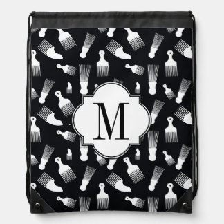 Black and white hair fashion drawstring bag