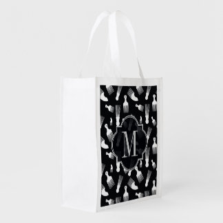 Black and white hair fashion reusable grocery bags