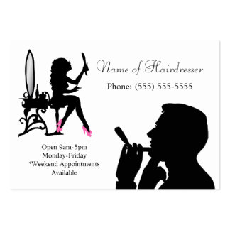 Black and White Hairdresser For Men and Women Pack Of Chubby Business Cards