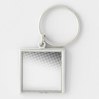 Black and White Halftone Dots Textured Silver-Colored Square Key Ring