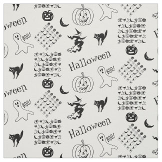 Black and White Halloween Fun Font Art Collage Fabric