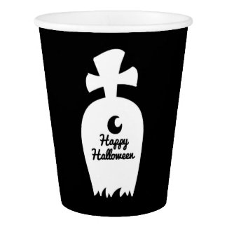 Black And White Halloween Grave Paper Cup