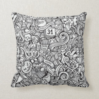 Black and White Halloween Illustration Cushion