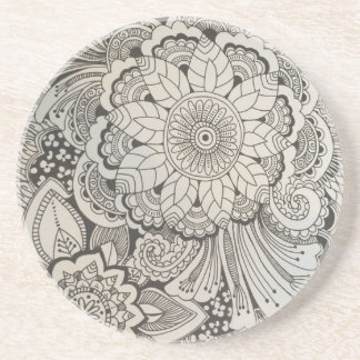 Black and White hand drawn floral Beverage Coaster