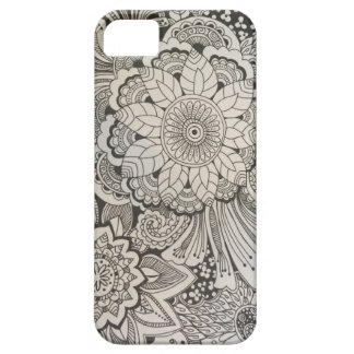 Black and White hand drawn floral Case For The iPhone 5