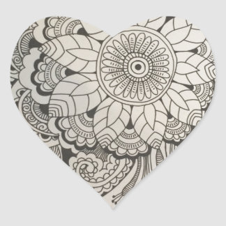 Black and White hand drawn floral Heart Sticker
