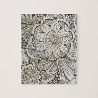 Black and White hand drawn floral Jigsaw Puzzle