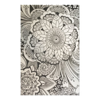 Black and White hand drawn floral Personalized Stationery