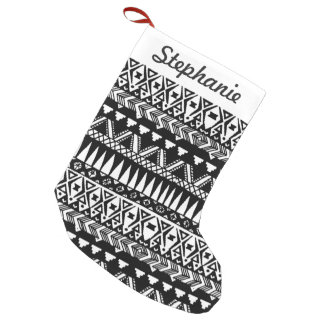 Black and White Hand Drawn Modern Tribal Aztec Small Christmas Stocking