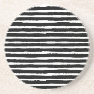 Black and white hand drawn watercolor stripes coaster