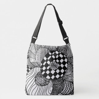 Black and White Hand Drawn Zen Doodle Drawing Crossbody Bag