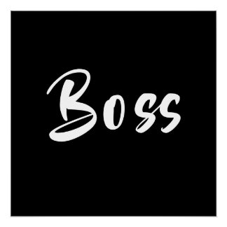 Black and White Hand Lettering The Boss Poster