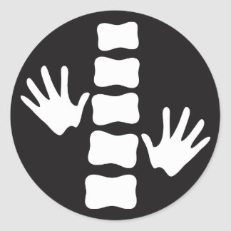 Black and White Hands and Spine Logo Chiropractic Classic Round Sticker