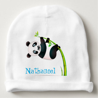 Black and White Hanging Panda Bamboo Branch Stalk Baby Beanie