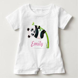 Black and White Hanging Panda Bamboo Branch Stalk Baby Bodysuit