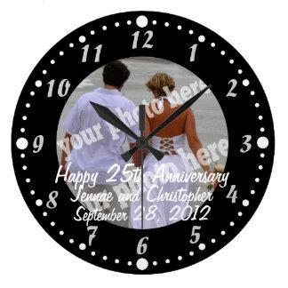 Black and White Happy Anniversary Photo Wall Clock