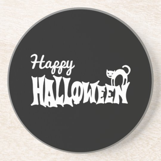 Black And White Happy Halloween Beverage Coasters