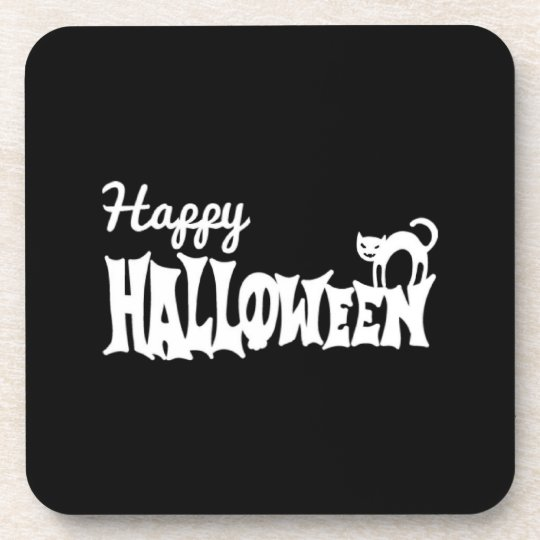 Black And White Happy Halloween Coasters