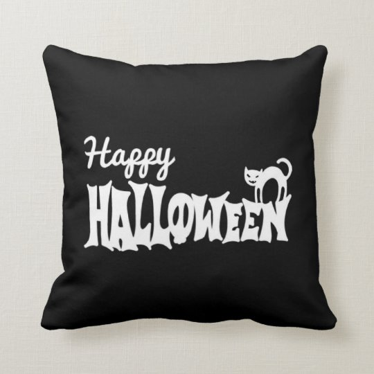 Black And White Happy Halloween Cushion