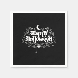 Black And White Happy Halloween Disposable Serviettes