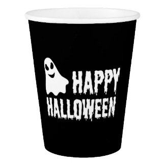 Black And White Happy Halloween Ghost Paper Cup