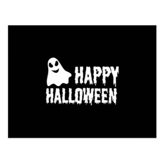 Black And White Happy Halloween Ghost Postcard