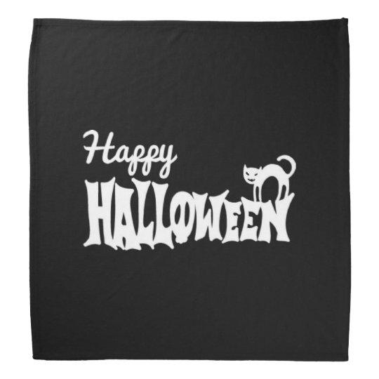Black And White Happy Halloween Head Kerchief