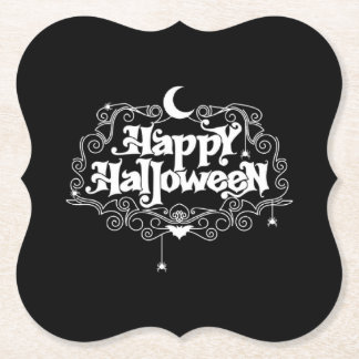 Black And White Happy Halloween Paper Coaster