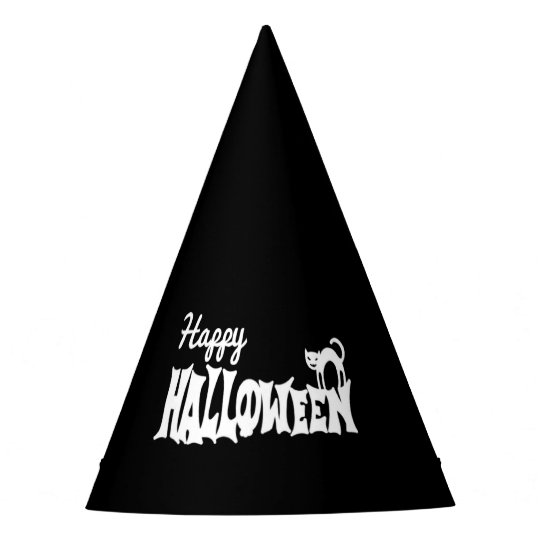 Black And White Happy Halloween Party Hat