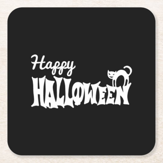 Black And White Happy Halloween Square Paper Coaster