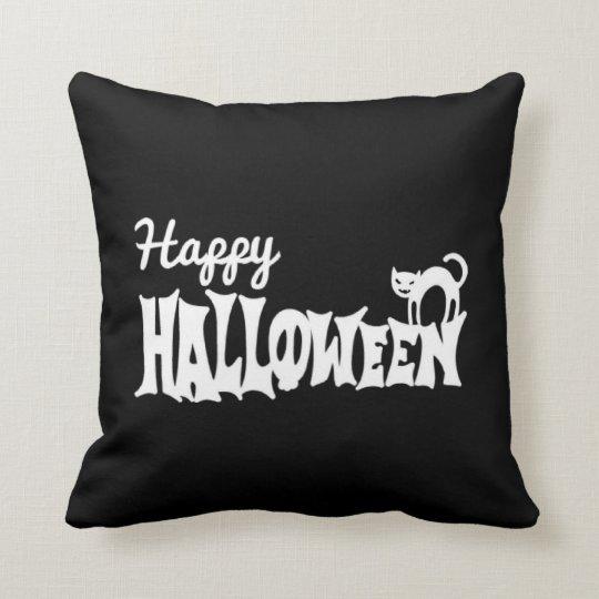 Black And White Happy Halloween Throw Pillow