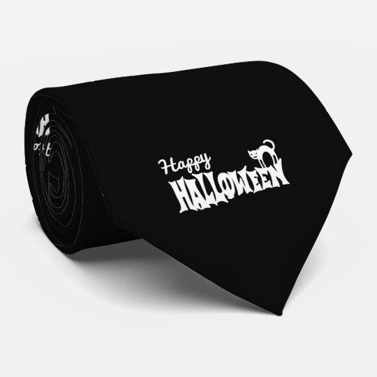 Black And White Happy Halloween Tie
