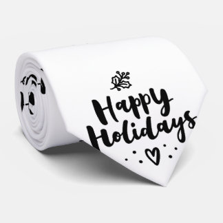 Black And White Happy Holidays Tie