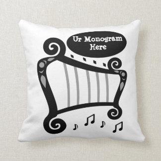 Black and White Harp Monogram Cushion