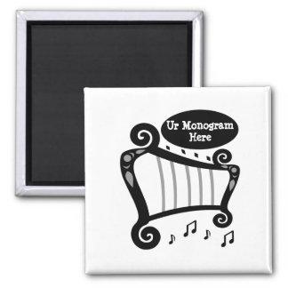 Black and White Harp Monogram Magnet